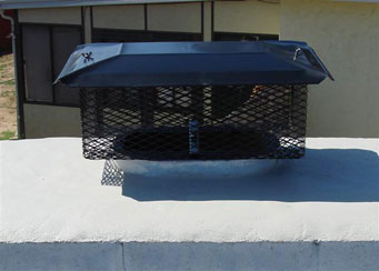Black stainless steel chimney cap also known as a flue cap also known as a rain cap