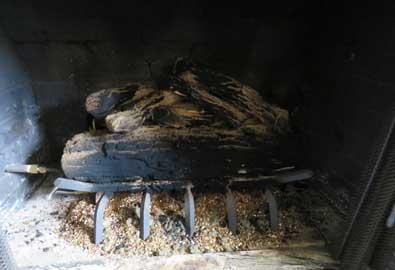 Gas logs in fireplace