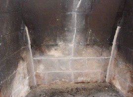 A firebox after a masonry firebox repair