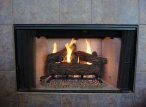 Gas logs in a prefab fireplace