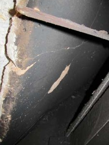 Cracked insulation plate in a Rampart General Pre-Cast chimney system