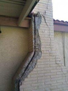 A Rampart General Pre-Cast chimney that is falling apart