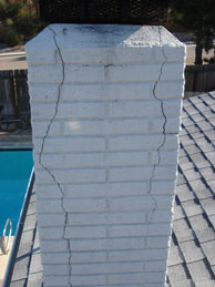 Rampart General Pre-Cast system with cracks in the exterior chimney structure