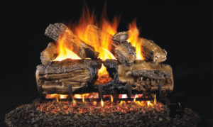 Burnt Split Oak Gas Log set