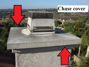 A chase cover on a prefab fireplace